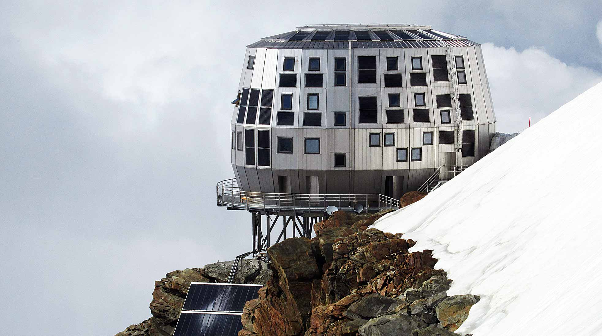 The new Goûter Hut at Mont Blanc, France.
