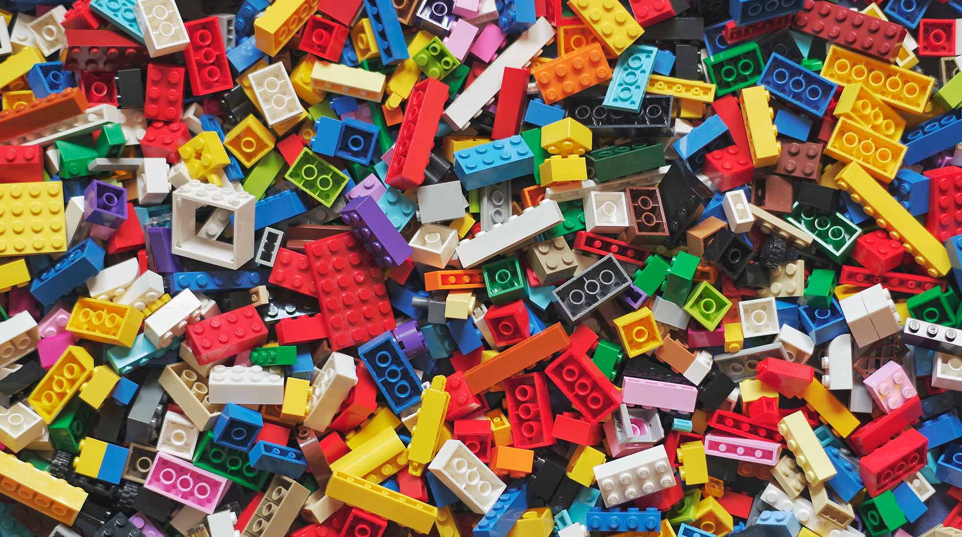 A huge pile of Lego bricks in different colors