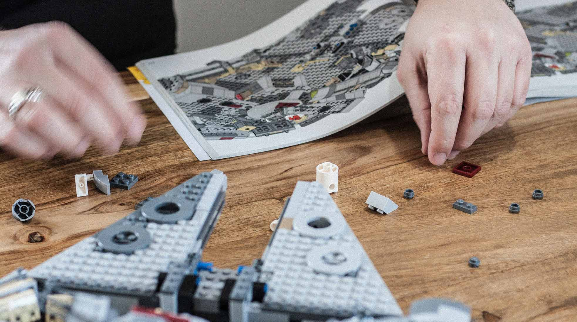 The LEGO Millennium Falcon, one of the biggest LEGO sets, being built.