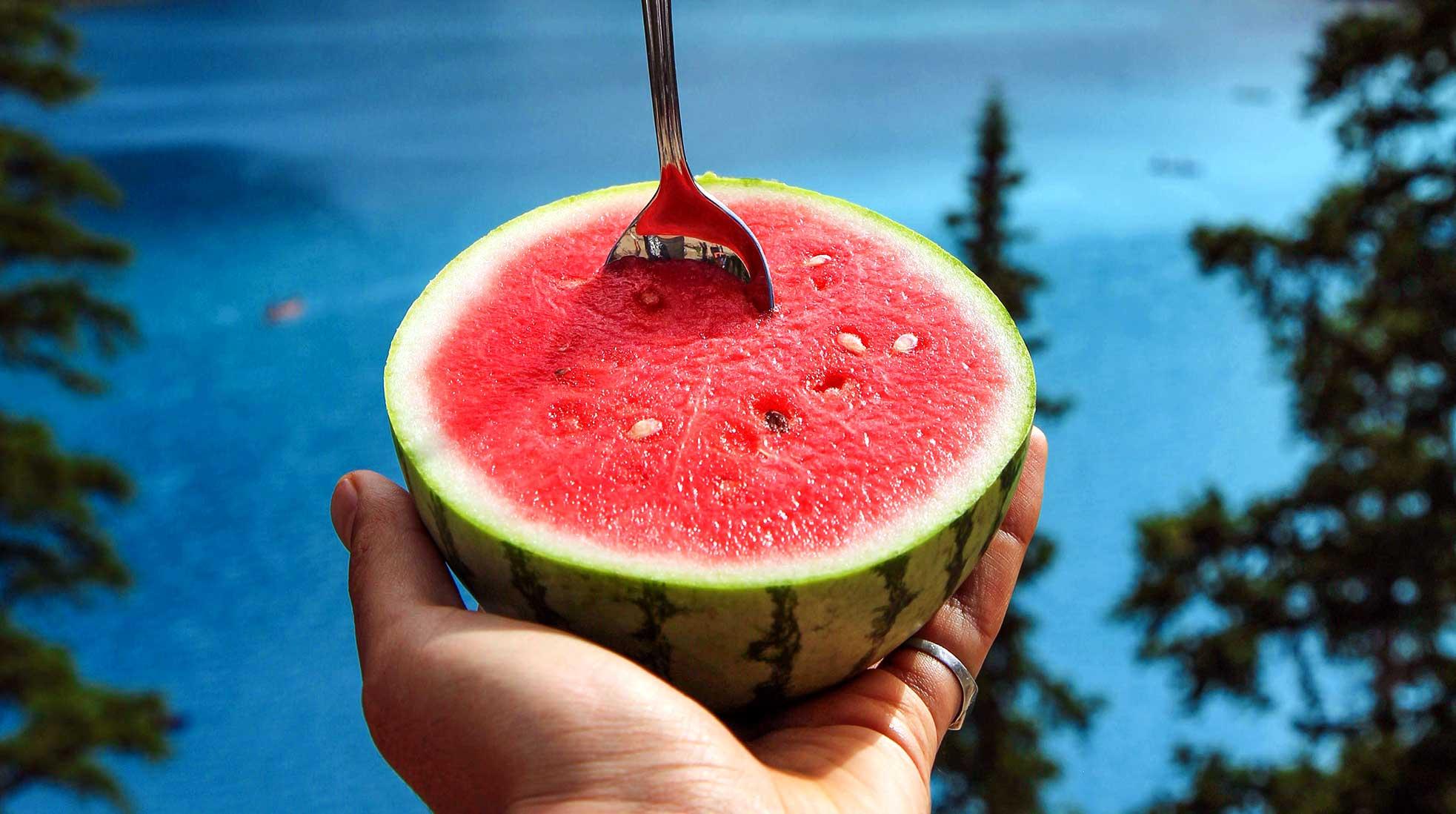 A halved watermelon