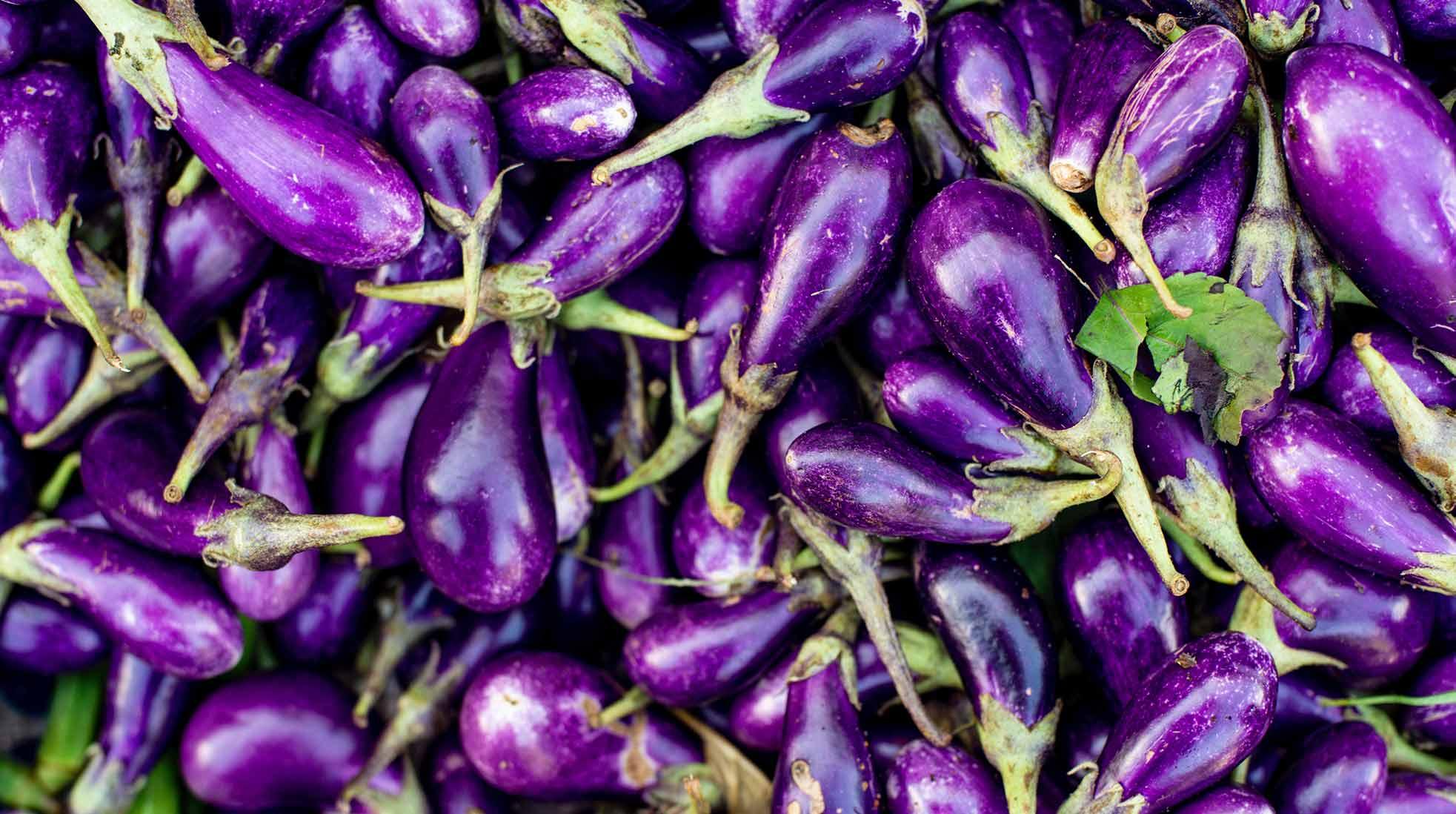 Eggplants at a vegetable market